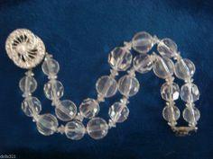 "Gorgeous Vintage Crystal Two Strand 7"" Bracelet 1950's"
