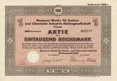 Dessauer Werke für Zucker- und Chemische Industrie / Dessau, 28.1.1942, Aktie über 1000 RM, Reichsbankschatz-Lochentwertung