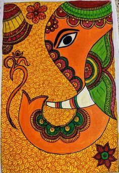 Worli Painting, Kerala Mural Painting, Daisy Painting, Ganesha Painting, Ganesha Art, Bottle Painting, Madhubani Art, Madhubani Painting, Art Drawings Beautiful