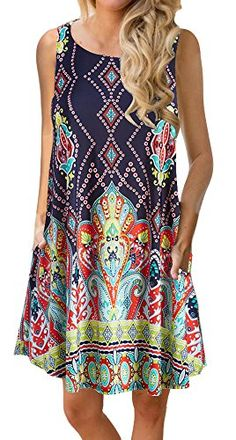YeeATZ Women's Summer Casual Sleeveless Floral Printed Swing Dress Sundress with Pockets - Casual Dresses Plus Size Maxi Dresses, Casual Dresses, Short Sleeve Dresses, Beach Dresses, Flowy Dresses, Casual T Shirt Dress, Bohemian Dresses, Sleeveless Dresses, Dress Beach