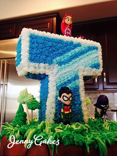 Teen Titans Go cake! Chocolate fudge cake with cherry cannoli filling and chocolate frosting. Bottom: confetti cake with vanilla pudding. Sculpted and hand painted. Custom designed name/logo. 7th Birthday Party Ideas, Man Birthday, Birthday Cakes, Chocolate Frosting, Chocolate Fudge, Cannoli Filling, Confetti Cake, Fudge Cake, Hand Painted
