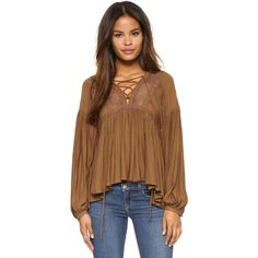 Free People Don't Let Go Peasant Top ($88) ❤ liked on Polyvore featuring tops, blouses, gingersnap, v-neck tops, pleated top, long sleeve peasant blouse, tie top and long sleeve tops