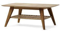 Retro soffbord i lättskött material. Bordet har vinklade ben och hylla för lättåtkomlig förvaring. Komplettera gärna med TV-bänk och matplatsmöbler i samma serie.