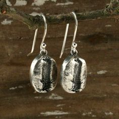 Fine silver coffee bean earrings