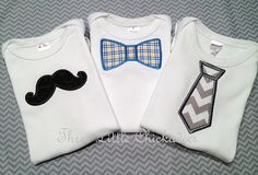 Little Man Tie, Mustache and Bow Tie Onsie or Tshirt Gift Set Baby Shower  Birthday Shirt Hospital Gift New Born Gift - Make great back to school shirts in your little man's school colors.  etsy.com/shop/threelittlechickadee