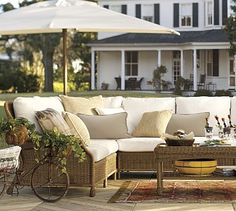 Build Your Own - Saybrook All-Weather Wicker Sectional Components #potterybarn