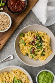 Tahini Butternut Squash Noodle Bowl with Spinach