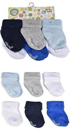 Little Me Baby Boys' 6 Pack Socks, Multi, Newborn 0-6 Months