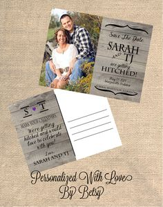 Rustic, Mason Jar, Country Themed Wedding : Save The Date PRINTABLE POST CARD. $15.00, via Etsy.
