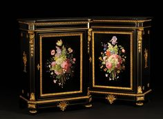 Julien-Nicolas RIVART and Pierre-Joseph GUEROU - Pair of Side Cabinets decorated of bouquets in porcelain marquetry - Marc Maison - Furniture, Bookcases, desks, Vitrines Pearl Decorations, Butterfly Decorations, Hand Painted Furniture, French Furniture, Antique Furniture, Antique Bookcase, Second Empire, Cabinet Making, Architectural Antiques