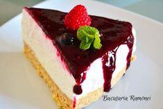 Prajitura la rece cu iaurt si fructe de padure Cheesecakes, Deserts, Sugar, Snacks, Baking, Recipes, Food, Sweet Treats, Recipe