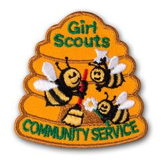 GIRL SCOUTS COMMUNITY SERVICE BEEHIVE SEW-ON PATCH
