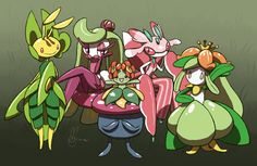 Leavanny, Tsareena, Vileplume, Bellossom, Lurantis, and Lilligant