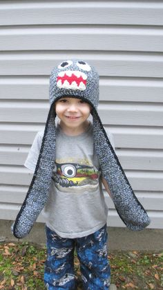 Adorable! All in One Crochet Little Monster Hat Scarf and Mittens by luvbuzz, $45.00