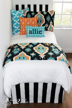 Loving this tribal teal and tangerine dorm room!! Monogrammed dorm orange and blue dorm fun dorm patterns for bedding dorm room bedding #trendydormroom http://www.decor-2-ur-door.com/designer-dorm-bed-in-a-bag-sets/coral-orange-custom-bedding-sets-teen-girl-dorm-room-apartment-home-bed-in-a-bag/tangerine-teal-tribal-teen-dorm-bedding-set?utm_content=buffer91b24&utm_medium=social&utm_source=pinterest.com&utm_campaign=buffer