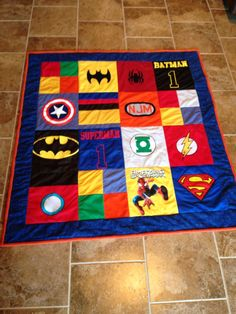 Super Heros T shirt Quilt Boy Quilts, Shirt Quilt, Super Heros, Superman, Kids Rugs, Decor, Scraps Quilt, Kid Friendly Rugs, Decorating