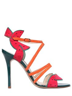 CAMILLA ELPHICK - 105MM WATERMELON PATENT LEATHER SANDALS - LUISAVIAROMA - LUXURY SHOPPING WORLDWIDE SHIPPING - FLORENCE