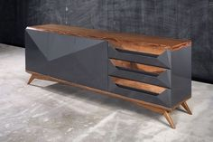 Vintage modern dining room: Art Deco burl wood table + Gio Ponti console, from M…