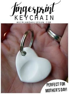 fingerprint keychain with sculpey--perfect mother's day present! easy and so sweet!