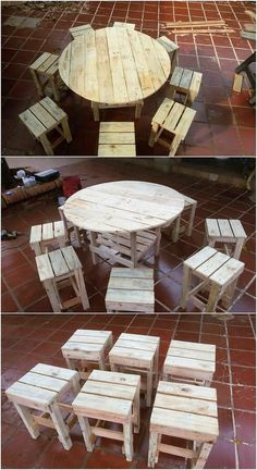 You can stylishly create the creative round top table effect through the ideal use of wood pallets. This wood pallet creation is functional to be used as for both indoor and outdoor purposes. The round top table with pairing of chairs has been overall put together in the simple and rustic designing outlook. It is looking so majestic and creative.