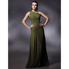 Chiffon Sheath/ Column One Shoulder Floor-length Evening Dress inspired by Sigourney Weaver at Golden Globe – US$ 152.99