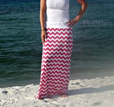 Coral Maxi Chevron with White Band (sew your own, tutorial)