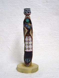 Native American Laguna Carved Pot Carrier Sculpture by Jacob Warner