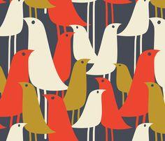 Mod Birds fabric by london_dewey on Spoonflower - custom fabric