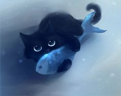 Cute black cats paintings by Rihards Donskis (aka Apofiss)