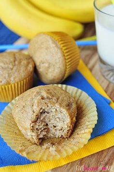 Healthy Whole Wheat and Honey Banana Muffins ~ wholesome ingredients including whole wheat flour, coconut oil, yogurt, and honey