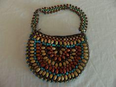 19.80$  Watch now - http://vigbl.justgood.pw/vig/item.php?t=tjk73gv7751 - Wood Bead Purse LIned Hippie Chic Hobo Retro Handbag