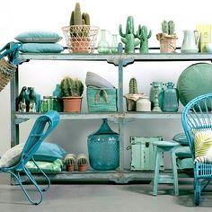 Green, mint and aqua Home styling