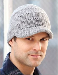 Men's brimmed hat pattern - like how the brim stands out away from the hat, not down over the forehead and eyes like a lot of the patterns I've seen. Trying to replace my hubby's favroite (but starting to look a little ragged) hat with something similar, and this looks pretty close!