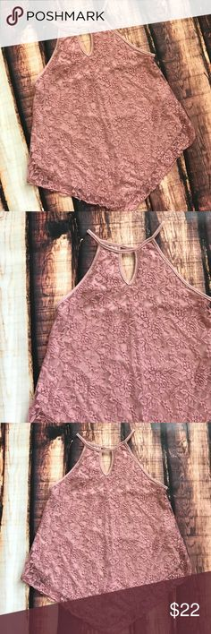 << Mauve Pink Lace High Neck Tank Top >> This little tank top sure to have you some already! A flattering fit with a high neck and full lace overlay, completely blind. Bust measures 19 inches from armpit To armpit. Made of 90% nylon and 8% spandex, with 100% polyester lining Boutique Tops Tank Tops