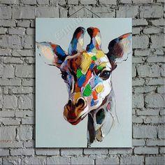 Giraffe - oil painting, large oil painting, abstract painting, portrait painting, hand painted on canvas by Ape Art Studio