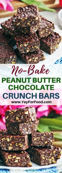 Enjoy these easy No-Bake Peanut Butter Chocolate Crunch Bars! Only 4 simple ingredients. #easyrecipes | #nobake | #chocolate | #desserts |#chocolatelovers | #peanutbutter | #dessertbars | #crunchbars