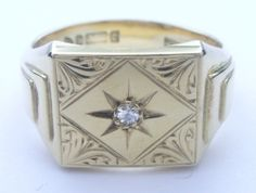 9ct 9k 375 Yellow Gold Engraved Signet Ring with Diamond - Hallmarked - Heavy