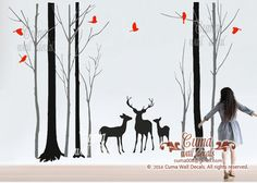 Nursery wall decal deer birds wall sticke animal wall decals children office wall mural vinyl - deer family in Forest   Z170a cuma by Cuma wall decals, $150.00 USD