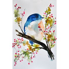 ORIGINAL Watercolor Painting, Bird in a spring tree, Bird art 6x9.5... ($40) ❤ liked on Polyvore featuring home, home decor, wall art, paper wall art, watercolor trees, watercolor tree painting, watercolour painting und water color painting