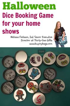 Use the Dice Booking Game with a fun halloween twist for your Direct Sales business: Melissa Fietsam, Ind. Senior Executive Director at Thirty-One Gifts www.buymybags.com #31 #31bag #31bags #thirtyone #thirtyonegifts #halloween #bookinggame #homeshow #homeparty