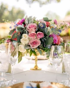 These cute colorful centerpieces remind us of spring and all the fresh blooms yet to come! ||Venue: @quailranchevents Catering: @commandperformancecatering Rentals: @arentalconnection Planning Floristry & Design: @burlapandbordeaux Photography: @rewindphotographysb Sweetheart Linen Rental: @dreamsamerica DJ: @dj_zeke Colorful Centerpieces, Gold Vases, Linen Rentals, Yet To Come, The Fresh, Luxury Wedding, All The Colors, Catering, Dj