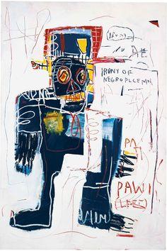 Jean-Michel Basquiat, Irony of Negro Policeman, and oilstick on wood, × cm. Signed and dated 'Jean Michel Basquiat on the reverse. Jean Michel Basquiat Art, Jm Basquiat, Basquiat Artist, Basquiat Tattoo, Franz Kline, Willem De Kooning, Sgraffito, Henri Matisse, Graffiti Art