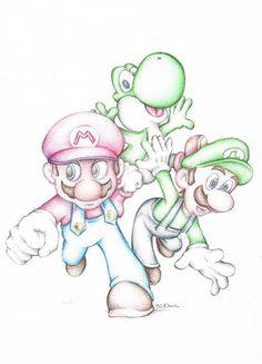 Super Mario With Luigi Yoshi colored pencil drawing - # colored pencil drawing . - Super Mario with Luigi Yoshi colored pencil drawing - Unique Drawings, Cute Drawings, Drawing Sketches, Drawing Drawing, Drawings For Boys, Drawing Tips, Drawing Faces, Super Mario Kunst, Super Mario Art