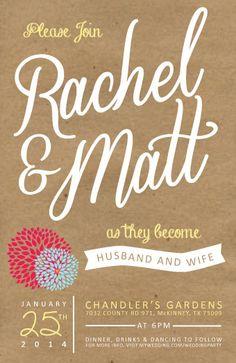 Kraft Paper Wedding Invitation by lilbackpackdesigns on Etsy