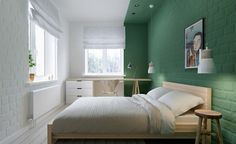 Playing with paint - Color-Blocked Bedroom in Moscow