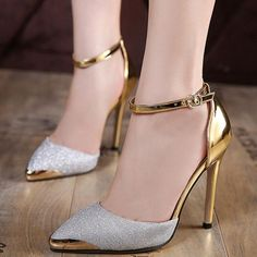 77a9d1952 Patchwork Pointed Toe Sequins Women's Pumps Metallic Shoes. Salto Alto De  Mulher ...