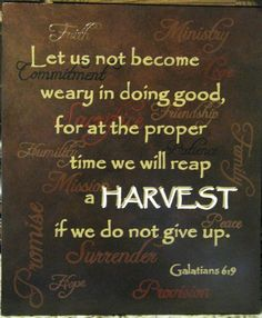 GALATIANS 6:9 ~ Let us not become weary in doing good