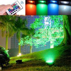 10W Outdoor garden light waterproof RGB color changing flashlight ...
