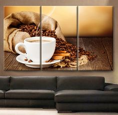 """Huge 3 Panels framed 1.5"""" depth Art Canvas Print beautiful Coffee beans Cup of coffee drink cinnamon saucer Wall home office decor interior on Etsy, $89.00"""
