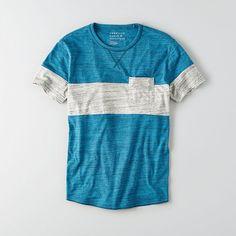 Get ready to make an entrance with AEO's latest collection of must-have tees. Fit & Details Soft cotton blend jersey Classic Fit Crew neck Bold colorblocking Patch pocket detail Tagless comfort 60% Cotton, 40% Polyester Machine Wash Cool Shirts, Casual Shirts, Tee Shirts, Tee Shirt Designs, Tee Design, Vintage Design, Mens Clothing Styles, Striped Tee, Mens Tees